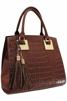 Brown Handbag With Golden Trim & Tassel