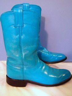 OOAK Vintage Justin Turquoise Leather Roper Boot L3056 Size 5 1/2B Reconditioned #JustinBoots #Boots
