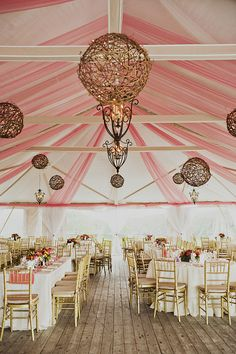 Gorgeous Pink Tent at this Pretty New England Wedding.