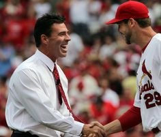 Jimmy Ballgame and Carp after the first pitch. Two of the coolest cardinals.