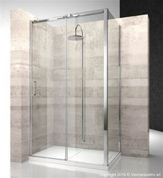 Shower enclosure in corner with fixed panel and opening side. | DN+DG | @vismaravetro