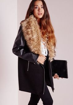 Biker Coat With Faux Leather Sleeves Black