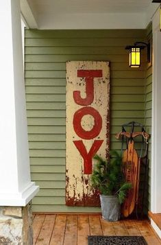Exterior Doors | a sign that says Joy is the perfect way to greet guests | Bayer Built Woodworks