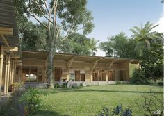 Primeiro Lugar: Abode+Abode / NKA Foundation _ use of local materials; good relation between inside and outside through the design of a door that allows the wind flow (with bamboo); nice organization of levels; pitched roof.