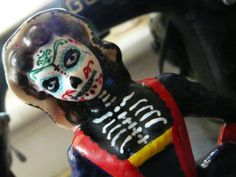 statue, ornament, art, home decor, hand painted woman sugar skull style piece