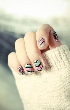 Cute Aztec nail Design