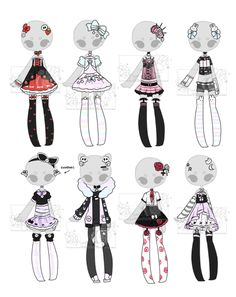 Adoptables by Hunibi on DeviantArt Drawing Anime Clothes, Dress Drawing, Fashion Design Drawings, Fashion Sketches, Chibi Kawaii, Clothing Sketches, Pastel Outfit, Anime Dress, Drawing Base
