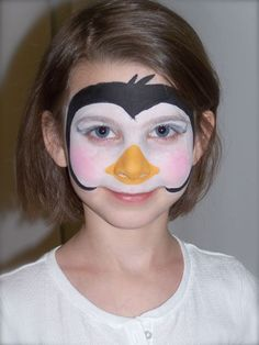 face painting-  penguin - i'd like to see a little more to this, maybe outline the beak, and make the white a bit stronger