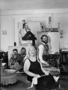 Alice Neel in her living room studio