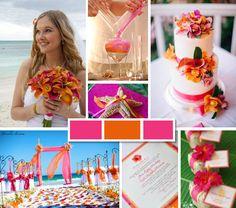 Orange & Fuschia Tropical Wedding Inspiration Board - Dream Weddings on a Budget