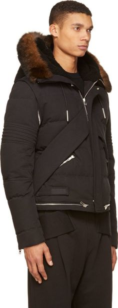 Givenchy Black Convertible Fur Trim Down Puffa Parka