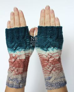 Hand Knitted Fingerless Gloves, Turquoise, Mint, Pastel Pink, Beige, Violet, Clothing And Accessories, Gloves & Mittens, READY TO SHIP