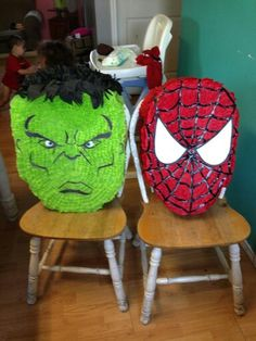 Hulk and spiderman pinata