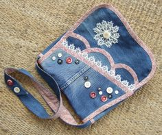 Trimmed and embellished denim bag