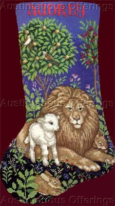 Rare Peaceable Kingdom Fraser Needlepoint Stocking Kit Lion Lamb -- I like this one & tapestry tent needlepoint christmas stockings | Enchanted Santa ...