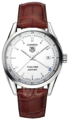 TAG Heuer Men's WV2116.FC6181 Carerra Calibre 7 Twin Time Automatic White Dial Brown Crocodile Watch Sleek, professional, and luxurious, the TAG Heuer Carrera automatic watch for men (model #WV2116.FC6181) is an exquisite timepiece for both business and pleasure.