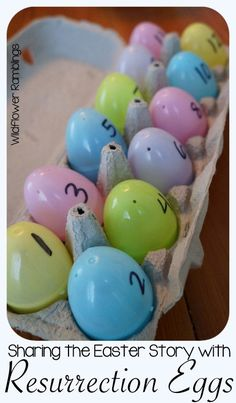 Share the Easter Story with these resurrection eggs -- and download a free printable to make your own for your children!!
