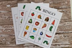 Order your Hungry Little Caterpillar themed BINGO game from this listing. Purchase includes PDF printable files. 2 boards print per page. Includes 20 different game boards and set of calling cards. Best if printed on cardstock paper. Use cereal, beans, stickers and etc for your guests to mark their called image