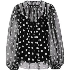 Dolce & Gabbana Embroidered cotton-blend tulle blouse ($1,523) ❤ liked on Polyvore featuring tops, blouses, shirts, dolce & gabbana, black, dolce gabbana shirt, see through tops, polka dot blouse, tulle shirt and sheer polka dot blouse