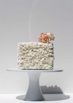 square floral white cake