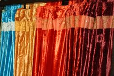 Luxurious Indian Velvet Curtain Panels hand made from rich Velvet with an intricate embroidered border on the top and bottom. Curtain Shop, Curtain Panels, Panel Curtains, Indian Curtains, Velvet Curtains, Indian Home Decor, Handmade, Top, Traditional