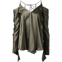 Christopher Esber unravelled sleeve blouse (330 BGN) ❤ liked on Polyvore featuring tops, blouses, shirts, green, shirt blouse, silk blouse, green silk shirt, sleeve top and silk shirt