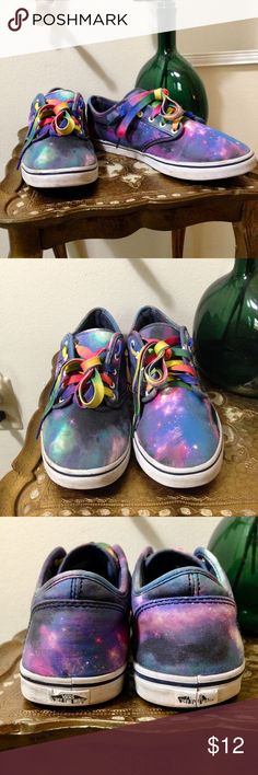VANS 'Galaxy' Print These super colorful, unique vans have a starry sky print and rainbow colored shoelaces. The shoelaces have a few stains here and there. The shoes also show wear, particularly around the seams—there are several spots. See pics #2, 3, 4, & 5. Hot glue would probably have these babies up and running in no time. The white rubber soles show some scuffs, but still pretty white. The tread looks great. Vans Shoes