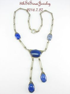 "Estate Art Deco Sterling Silver 925 Blue Chrysoprase Marcasite Necklace 16"" #Unbranded #Necklace"