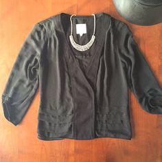 Sheer Black 3/4 Sleeve Snap Closure Jacket