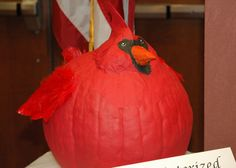 This is a redbird pumpkin.I want to make one similar but with paper mache. Halloween Boo, Holidays Halloween, Halloween Pumpkins, Halloween Crafts, Holiday Crafts, Holiday Fun, Kid Crafts, Happy Halloween, Holiday Ideas