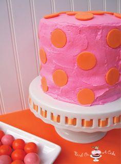 Bird On A Cake: Orange & Pink Polka Dot Cake