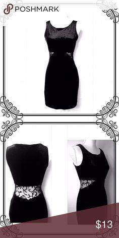 "Black Little Dress Good condition // scoop kneck // Velvet  and black mesh with design // Medium // Lenght 32"" shoulder to hem. All That Jazz Dresses Mini"