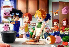 Digimon Stew by Detoreik.deviantart.com on @deviantART (Tai, Sora, TK, Matt, Joe, Izzy and Mimi, Motimon, Koromon, Bukamon, Tsunomon, Pyokomon, Patamon and Tanemon)