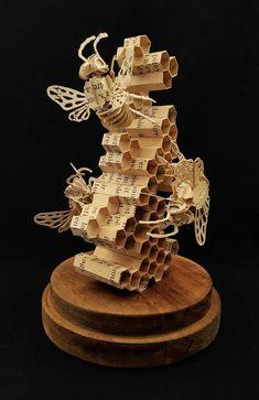 The kitchen bees in The Starless Sea Bees Apis mellifera Cardboard Sculpture, Cardboard Art, Book Sculpture, 3d Laser Printer, Paper Art, Paper Crafts, Bee Crafts, Bee Art, Bees Knees
