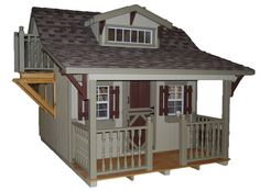 "Features:  -Activity deck and railing (deck measure 35"" W x 24"" D, it stands 60"" H off the ground).  -High quality siding and trim.  -Loft.  -Made in the USA with Amish craftsmanship.  -Slide.  -2 x 3"