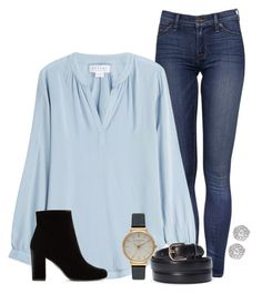 """""""❤❤"""" by oliviamtraxler ❤ liked on Polyvore featuring Velvet, Yves Saint Laurent, Olivia Burton and Fallon"""