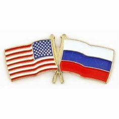 USA & Russia Flag Pin . $3.95