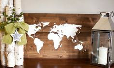 White world map on wood. Reid Lane hand made home decor.