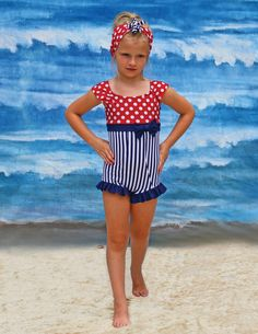 SUMMER 2015 CLEARANCE SALE! Short Sleeve Swimsuit in Independence by muddyfeetboutique on Etsy https://www.etsy.com/listing/230260175/summer-2015-clearance-sale-short-sleeve