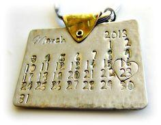 Personalized Calendar Key-Chain, Mens, Boyfriend, Wedding, Anniversary, Birthday, Save the Date, Stainless Steel, Brass.