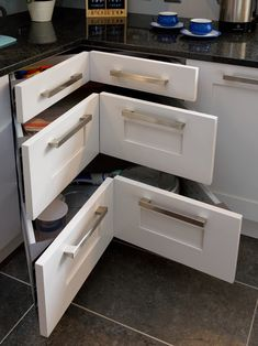 When it comes to corner drawers, wandgestaltung, Design Ideas And Practical Uses For Corner Kitchen Cabinets Corner Drawers, Corner Cupboard, Kitchen Corner, Kitchen Redo, Kitchen Storage, New Kitchen, Kitchen Ideas, Corner Cabinets, Corner Storage