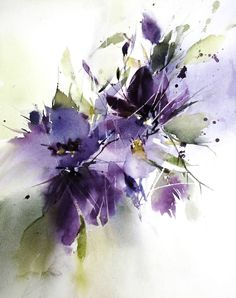 purple dream - watercolor by Annemiek Groenhout