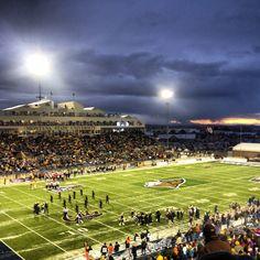 Montana State Bobcats football game at night.