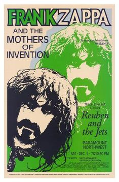 Frank Zappa and the Mothers of Invention Classic Rock Psychedelic Concert Poster Frank Zappa, Jazz, Blues Rock, Big Mama Thornton, Frank Vincent, Vintage Concert Posters, Dave Matthews Band, Psychedelic Rock, Poster Design