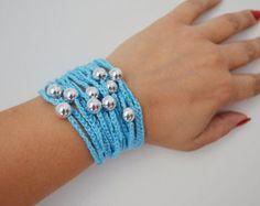 Hand-crochet Rope Bracelet with silvery beads by ArtofAccessory
