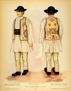 1937 Folk Costume Romanian Man Bistrita Nasaud Print - ORIGINAL COS5 Traditional Dresses, Traditional Art, Romanian Men, Folk Costume, Costumes, Paper Dolls Clothing, Contemporary Decorative Art, Folk Fashion, Free Black