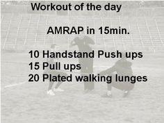 15 AMRAP - HSPU, Pull Ups & Walking Lunges