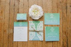 Unique ombre watercolour lace doily rustic wedding invitation - Arizona.
