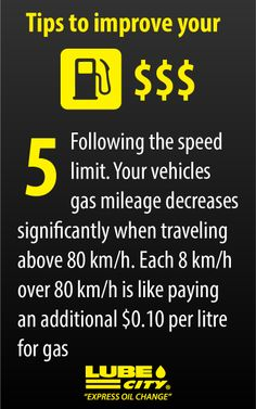 Following the speed limit. Your vehicles gas mileage decreases significantly when traveling above 80 km/h. Each 8 km/h over 80 km/h is like paying an additional $0.10 per litre for gas http://www.lubecity.ca/