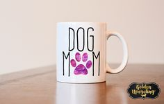 Dog Mom Coffee Mug, Dog Lover Coffee Mug, Dog Mom Mug, Sublimated Mug, Heat Pressed, Dog Lover Gift, I Love My Dog Gift by GoldenDesignsbySarah on Etsy https://www.etsy.com/listing/247546448/dog-mom-coffee-mug-dog-lover-coffee-mug
